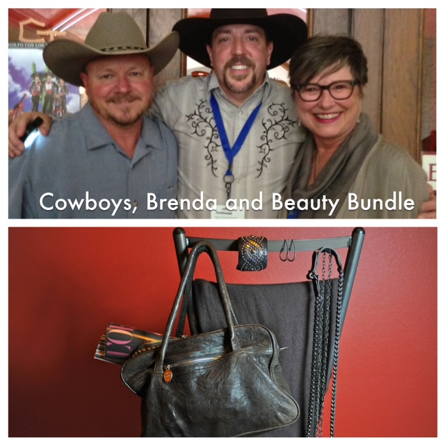 Travis, Wade Earp, and Brenda above; my beauty bundle below.