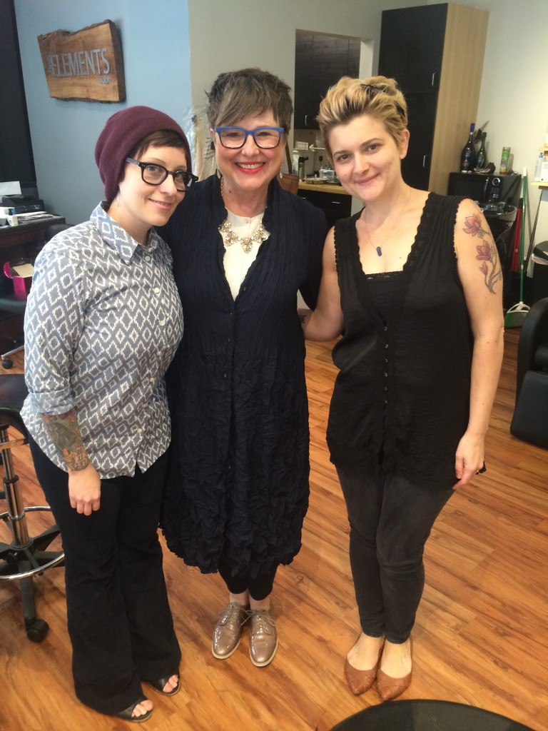 Elia, who introduced me to Nancy and cut my hair for years (left) and Ruthie who is taking over the job